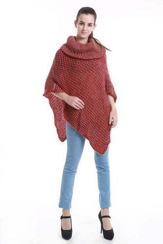 Two-tone turtle neck knit poncho