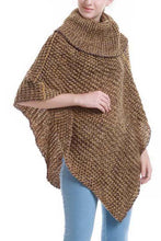 Load image into Gallery viewer, Two-tone turtle neck knit poncho