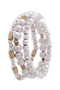 Multi metal bead stretch bracelet