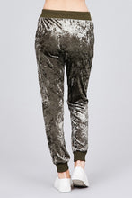 Load image into Gallery viewer, Waist contrast band w/drawstring ice velvet pants