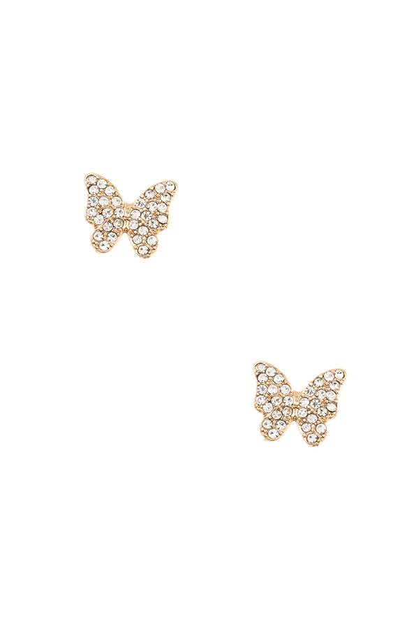 Rhinestone pave butterfly post earring-