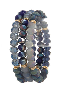 Beaded multi colored stretch bracelet
