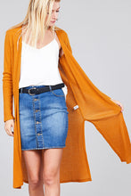 Load image into Gallery viewer, Ladies fashion long sleeve open front side slit midi length brushed waffle cardigan