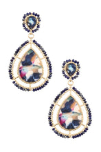 Load image into Gallery viewer, Faceted bead acetate teardrop earring