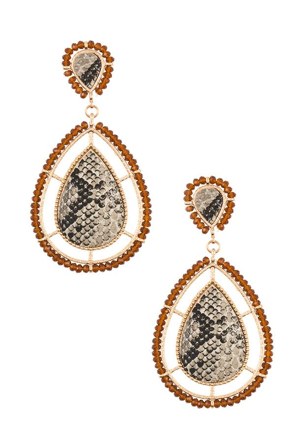 Bead framed teardrop reptile pattern earring