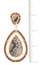Load image into Gallery viewer, Bead framed teardrop reptile pattern earring