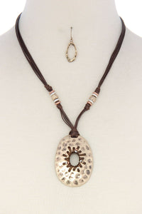Rustic hammered circle leather necklace