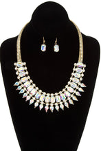 Load image into Gallery viewer, Faceted crystal gem link bib necklace set