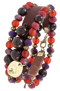 Three piece mix bead faux leather bracelet