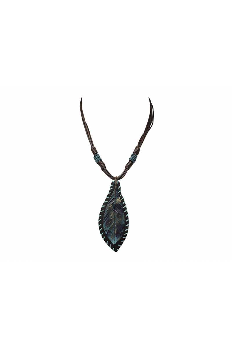 Patina leaf pendant necklace