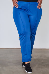 Ladies fashion plus size side metal grommet embellished pants