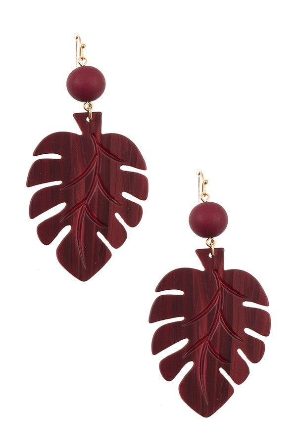 Ball bead leaf dange earring