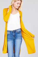Load image into Gallery viewer, Ladies fashion long sleeve open front side slit tunic length rayon spandex rib cardigan
