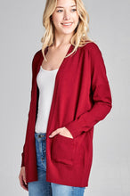Load image into Gallery viewer, Ladies fashion long dolmen sleeve open front w/pocket sweater cardigan