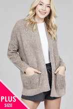 Load image into Gallery viewer, Ladies fashion plus size dolmen sleeve open front surplice back construction sweater cardigan