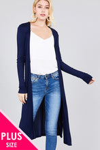 Load image into Gallery viewer, Ladies fashion plus size long sleeve open front side slit long length rayon spandex rib cardigan