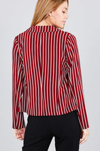 Load image into Gallery viewer, Long sleeve notched collar princess seam w/back slit striped jacket