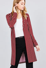 Load image into Gallery viewer, Long sleeve notched collar open front striped long jacket