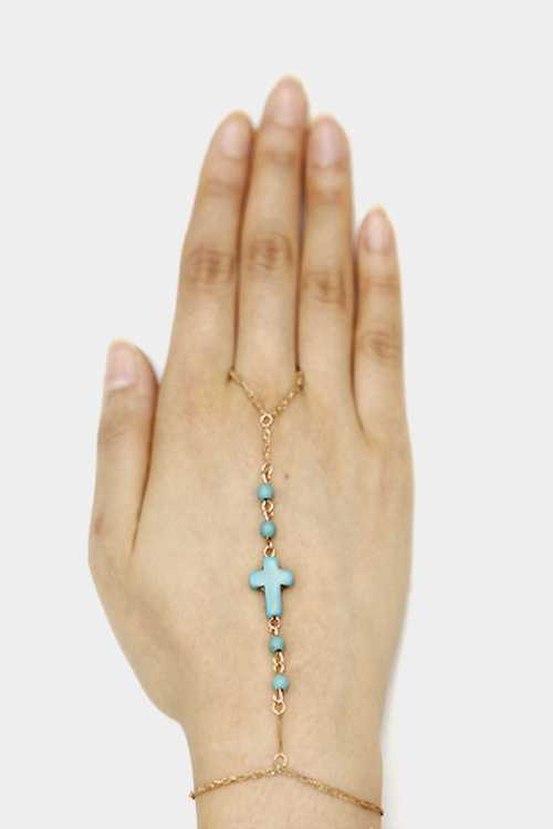 Gem stone cross hand chain