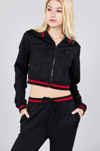 Load image into Gallery viewer, Contrast stripe patch pocket jacket and drawstring waist jogger pants set