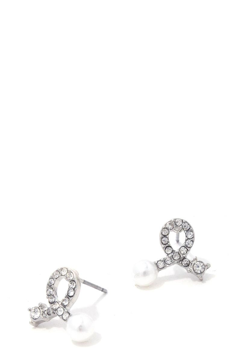 Rhinestone Bow Pearl Ended Stud Earring