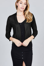 Load image into Gallery viewer, 3/4 Sleeve Open Front Crop Cardigan