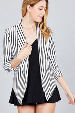 Load image into Gallery viewer, Shirring Sleeve Open Front W/label Striped Jacket