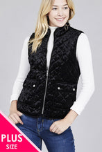 Load image into Gallery viewer, Quilted Padding W/suede Piping Detail Velvet Vest