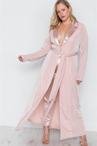 Plus Size Rose Two Piece Cardigan Satin Pants Set