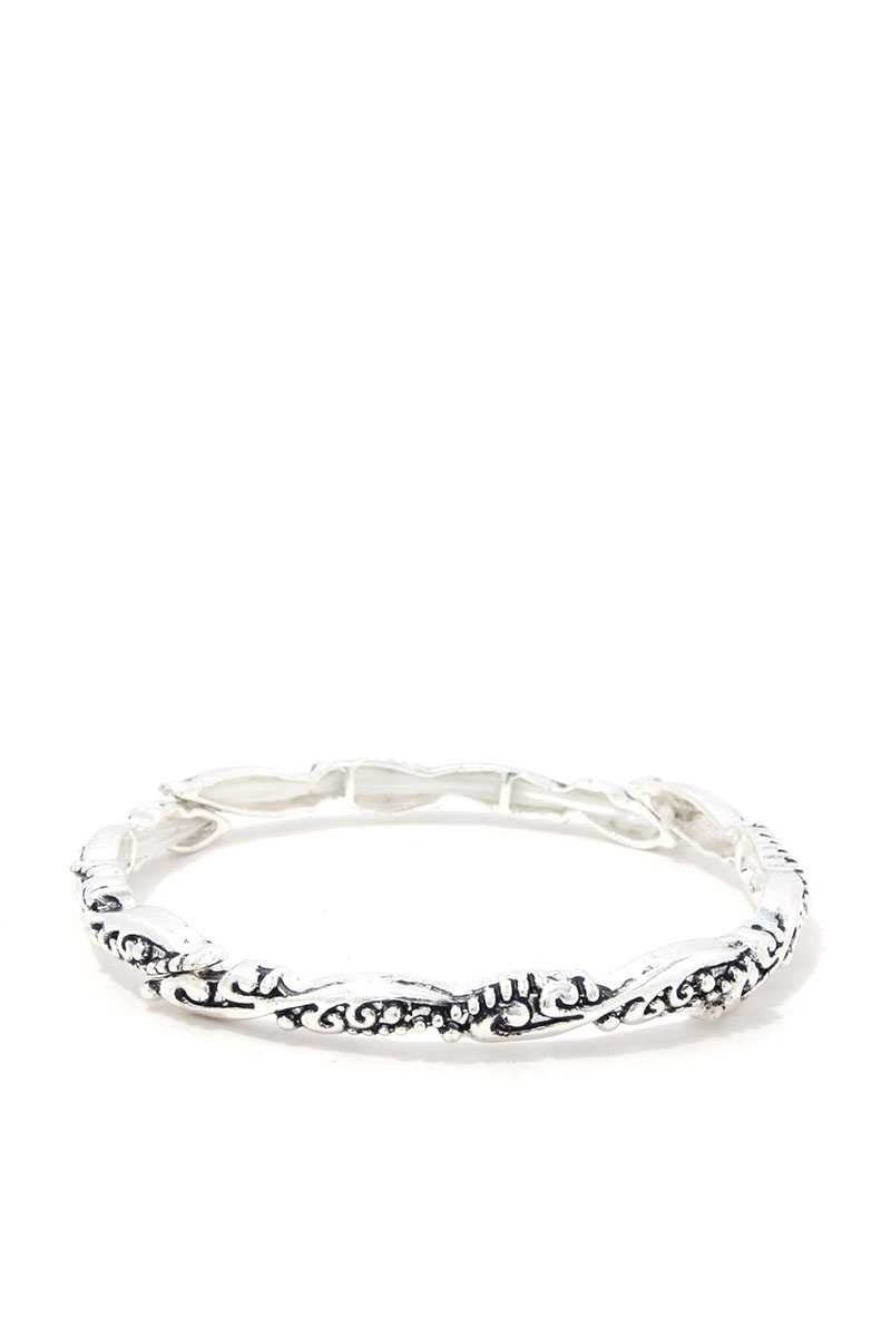 Thin Filigree Metal Stretch Bracelet