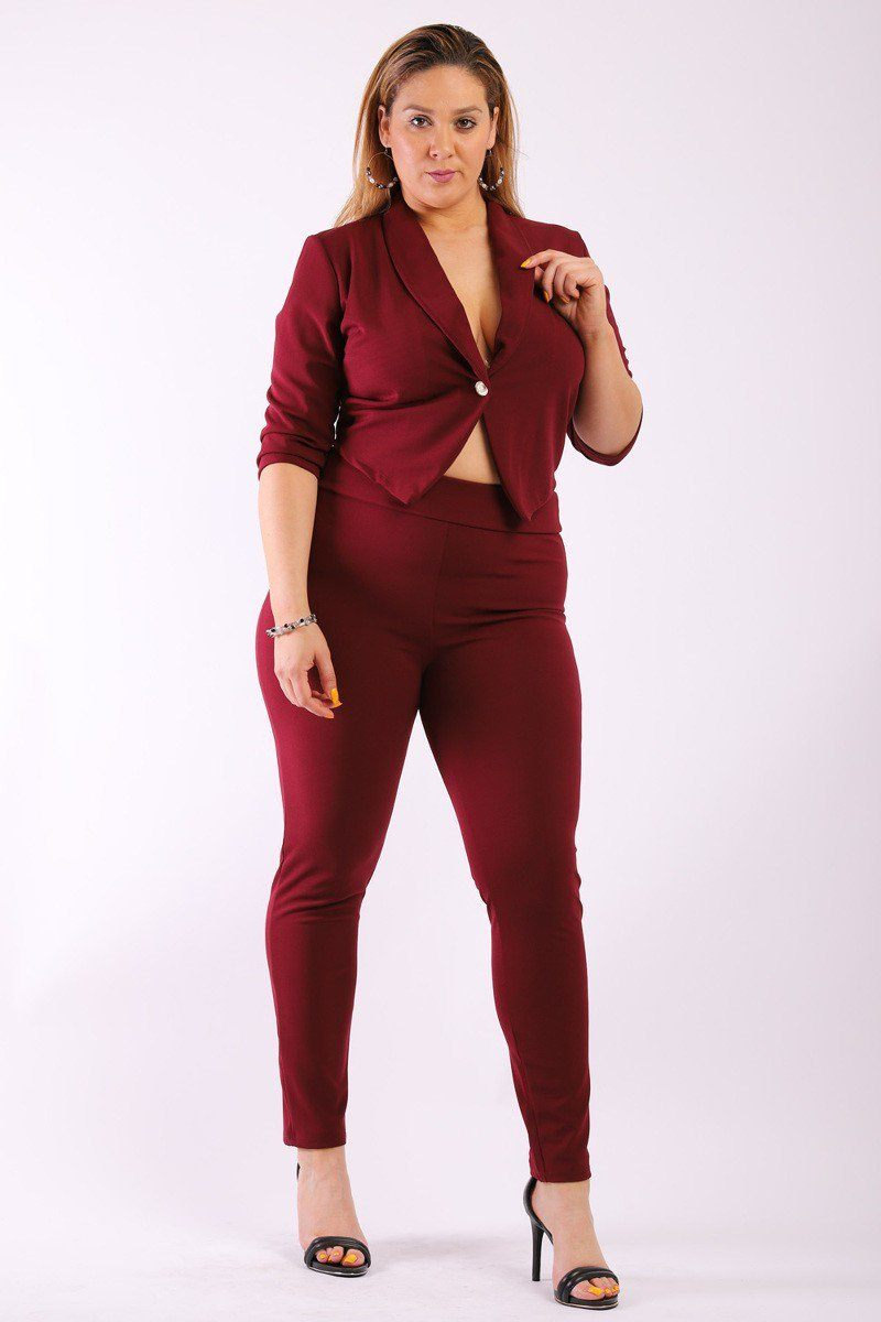 Solid, Fitted Two Piece Set Includes Blazer Coat With 3/4 Sleeves, Collard, One Button Closure And Pointed Hemline With Matching Full Length, High-waist Pant