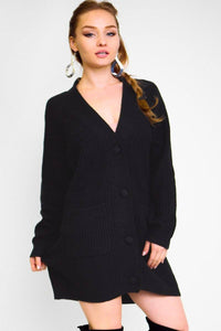 Solid, Think Knit, Button Down Cardigan With Long Sleeves And Front Pockets In A Oversize Loose Fit