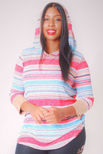 Load image into Gallery viewer, Striped, Hip Length Hoodie Top