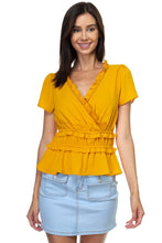 Load image into Gallery viewer, Shirring Ruffle Cropped Top