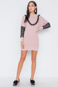 Mash Detail Mini Sweater Dress