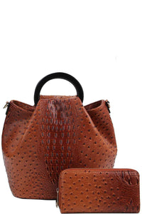 2in1 Stylish Croco Pattern Chic Satchel With Long Strap