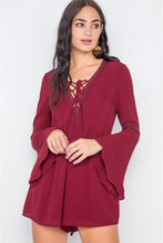 Load image into Gallery viewer, Crochet Bell Sleeve Lace-up Romper