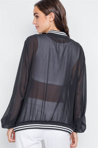 Black Sheer Contrast Trim Long Sleeve Light Jacket