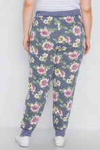 Load image into Gallery viewer, Plus Size Blue Floral Print Knit Joggers Pants