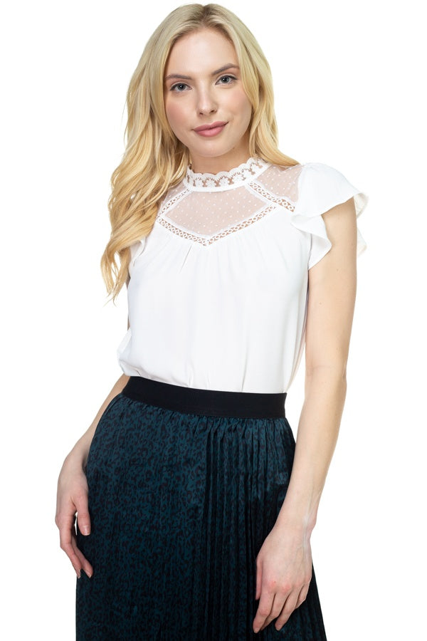 Mesh Lace Mock Neck Blouse