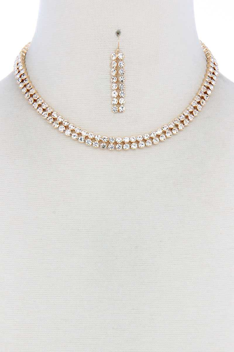 Double Line Rhinestone Necklace