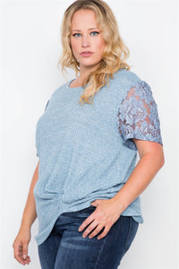 Plus Size Blue Short Lace Sleeves Knit Top