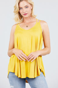 V-neck Double Shoulder Strap Cami Rayon Spandex Top