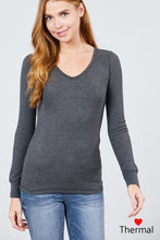 Load image into Gallery viewer, Long Sleeve V-neck Thermal Top