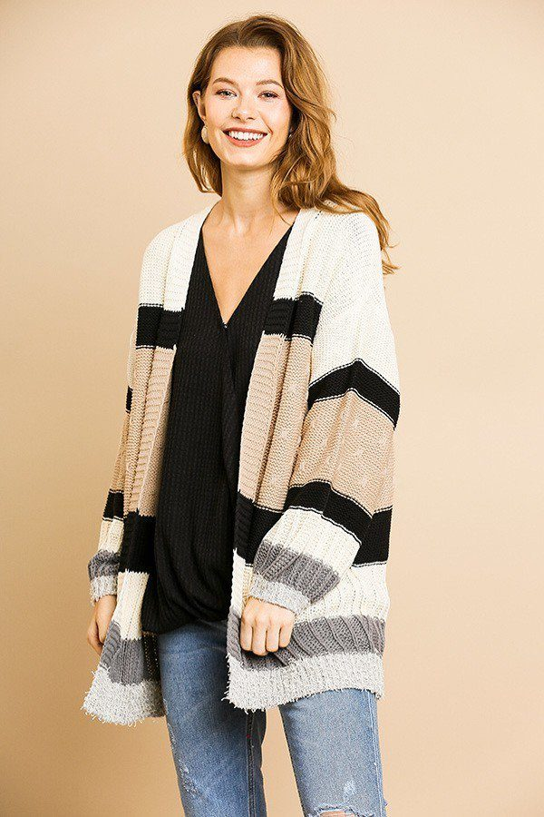Multi Color Mixed Fabric Long Sleeve Open Front Cardigan Sweater