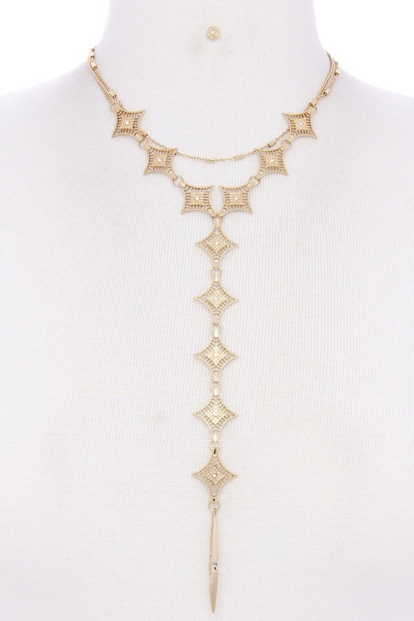 Metal Y Shape Necklace