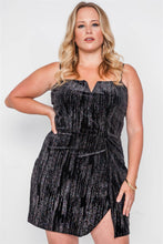Load image into Gallery viewer, Plus Size Black Side Slit Cami Evening Mini Dress