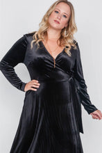 Load image into Gallery viewer, Plus Size Velvet Surplice Neck Maxi Dress