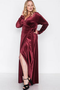 Plus Size Velvet Surplice Neck Maxi Dress
