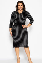 Load image into Gallery viewer, Solid Striped, Midi Tee Dress